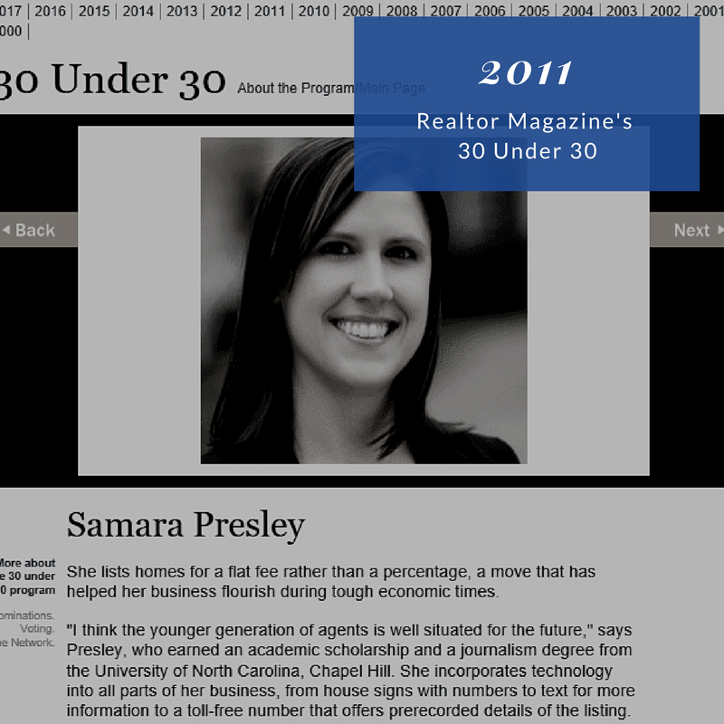 2011 Realtor Magazine's 30 Under 30 Samara Presley