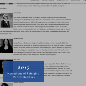 2015 Raleigh's 15 Best Realtors